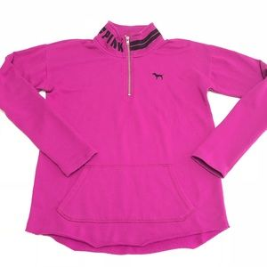 VS PINK Magenta 1/4 Zip-Up Fleece Sweater